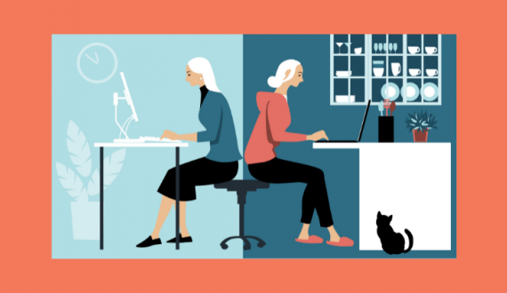 illustration of woman working in the office and at home